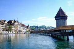 Kapellbro på Lucerne Arkivfoto