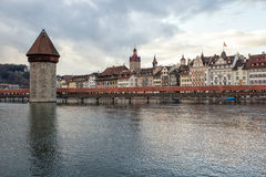 Kapellbrucke chapel bridge with water tower in Lucerne, Switzerl Stock Photography