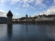 Kapellbrucke in der Schweiz Lizenzfreie Stockfotografie
