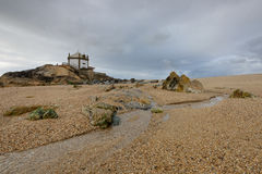 Kapelle auf dem Strand nahe Porto, Portugal Lizenzfreies Stockbild