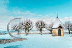 Kapelle des Gruyeres-Schlosswinters stockbilder