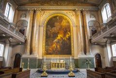 Kapelle im alten königlichen Marinecollege in Greenwich Lizenzfreies Stockfoto