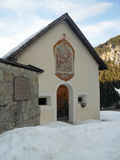 Kapelle im Schnee Stockfotografie