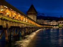 Kapellen-Brücke in Luzern Stockbild