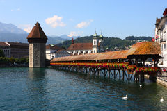 Kapellen-Brücke in der Luzerne Stockfotos