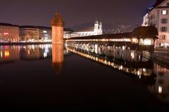 Kapellenbrücke die Schweiz Stockfotografie