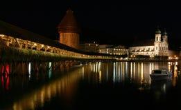 Kapellenbrücke in Luzerne. Lizenzfreie Stockfotos