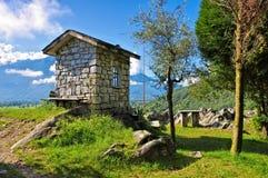KapellSasso Dascio sjö Como, Lombardy royaltyfri bild