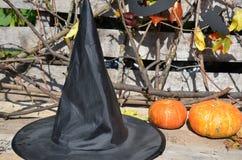 Kapelusz czarownica dalej z banią dla Halloween zdjęcia royalty free
