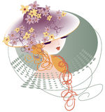 Kapelusz dekorujący z kwiatami Fotografia Royalty Free