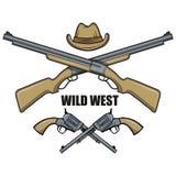 Kapelusz i pistolety kowbojscy Kreskówka obrazek dziki zachód ilustracji