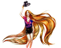 Kapelusz i włosy ilustracji