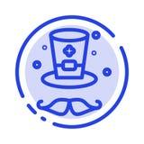 Kapelusz, nakrętka, Irlandia linii linii błękit Kropkująca ikona ilustracja wektor