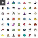 Kapelusz, nakrętka, pióropusz, headwear wypełniał kontur ikony ustawiać ilustracji