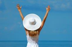 kapeluszowa biała kobieta Obrazy Stock