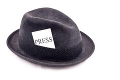 kapeluszowa dziennikarza fotografii prasa Fotografia Stock