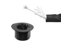 kapeluszowa magiczna jedwabiu wierzchołka różdżka Zdjęcia Royalty Free