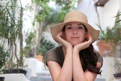 kapeluszowa słomiana kobieta Fotografia Royalty Free