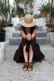 kapeluszowa słomiana kobieta Obraz Royalty Free