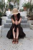 kapeluszowa słomiana kobieta Zdjęcia Stock