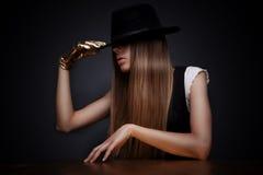 kapeluszowa tajemnicza kobieta Obraz Royalty Free
