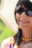 kapeluszowego lato szerocy kobiety potomstwa fotografia royalty free