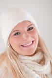 kapeluszowej dzianiny ładni szalika zima kobiety potomstwa Obrazy Stock