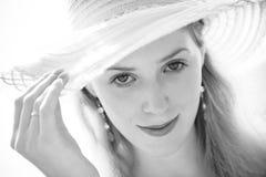 kapeluszowi portreta kobiety potomstwa Zdjęcia Royalty Free
