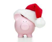 kapeluszowy banka prosiątko Santa Obrazy Stock