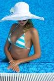 kapeluszowy blondynka biel Obraz Royalty Free
