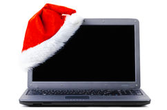 kapeluszowy laptop Santa Fotografia Stock