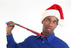 kapeluszowy mężczyzna Santa stresujący się martwił się Obrazy Stock