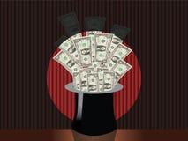 kapeluszowy magiczny pieniądze Obrazy Stock