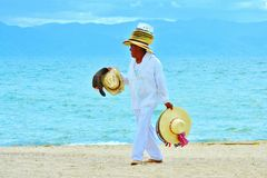Kapeluszowy Peddler na plaży Zdjęcia Royalty Free