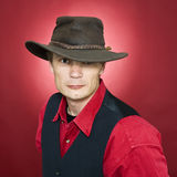 kapeluszowy rzemienny mężczyzna Zdjęcia Stock