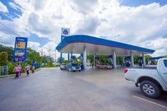 Kapeluszowy Yai, 02 2014 Lipiec: PTT benzynowa stacja w Kapeluszowym Yai, Kapeluszowy Yai provi Obraz Royalty Free