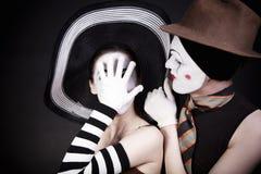 kapeluszy mimowie dwa Obrazy Stock