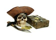 Kapern Sie Schädel und Beute lizenzfreies stockbild