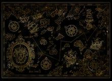 Kapern Sie Schätze aufzeichnen mit antiken Segelbooten, barocker Fahne und Kompasssen auf Schwarzem Lizenzfreies Stockbild