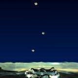Kapiący ciecz, trzy kropli woda tworzył krater Zdjęcia Royalty Free