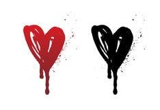 Kapiący krwi lub czerwieni serca muśnięcia uderzenie odizolowywający na białym tle Ręka rysujący czarny grunge serce ilustracja wektor