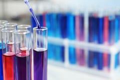 Kapiący odczynnik w próbną tubkę z próbką w chemii laboratorium, zbliżenie fotografia stock