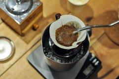 Kapinos kawy ustalony narządzanie barista Zdjęcie Stock