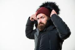 Kapiszon dodaje ciepło i pogoda opór Dlaczego wybierać najlepszy zimy kurtkę Mężczyzny brodatego stojaka kurtki ciepły parka odiz fotografia stock