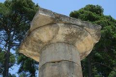 Kapital unter den Ruinen von Olympia Lizenzfreie Stockfotografie