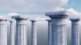 Kapitalen van oud kolommen op een rij 3D concept stock videobeelden