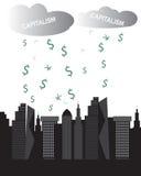 Kapitalizm chmurnieje bogaty pejzaży miejskich drapaczy chmur pieniądze padać ilustracja wektor