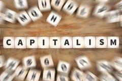 Kapitalizm polityka pieniężnego pieniądze gospodarki kostka do gry bogaty biznes c fotografia stock
