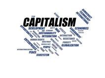 KAPITALIZM - słowa obłoczny wordcloud - terminy od globalizacja, gospodarki i polisy środowiska, ilustracja wektor