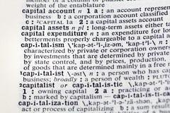 Kapitalkonto-Anlagegutdefinition des Kapitalismus lizenzfreies stockfoto